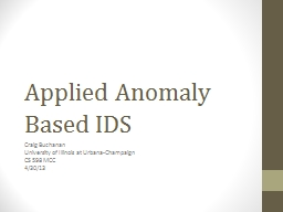 Applied Anomaly Based IDS