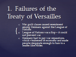 1.  Failures of the Treaty of Versailles