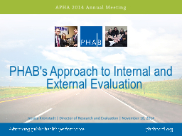 PHAB's Approach to Internal and External