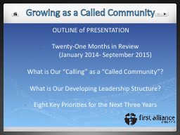 Growing as a Called Community