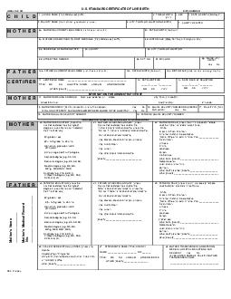 US STANDARD CERTIFICATE OF LIVE BIRTH LOCAL FILE NO