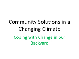 Community Solutions in a Changing Climate