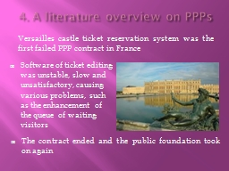 4. A literature overview on PPPs