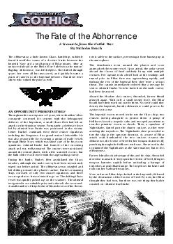 The Fate of the Abhorrence A Scenario from the Gothic War By Nicholas Beach The Abhorrence  a little known Chaos battleship suddenly found herself the centre of a decisive battle between the Imperial