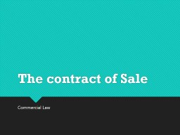 The contract of Sale