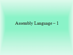 Assembly Language – 1