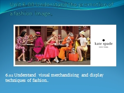 Unit 6.00 Understand the promotion of a fashion image