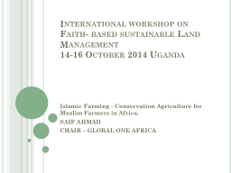 International workshop on Faith- based sustainable Land Man