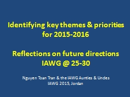 Identifying key themes & priorities for 2015-2016