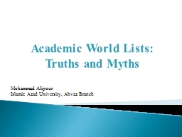Academic World Lists: Truths and Myths PowerPoint PPT Presentation