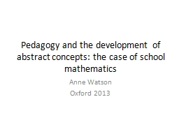 Pedagogy and the development of abstract concepts: the case PowerPoint PPT Presentation