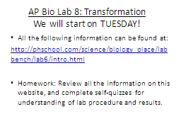 AP Bio Lab 8: Transformation