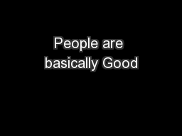 People are basically Good