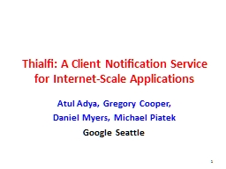 Thialfi: A Client Notification Service PowerPoint PPT Presentation