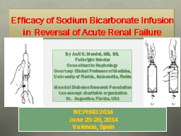 Efficacy of Sodium Bicarbonate Infusion in Reversal of Acut