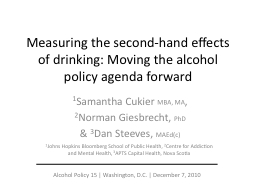 Measuring the second-hand effects of drinking: Moving the a