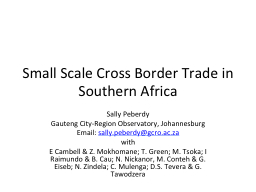 Small Scale Cross Border Trade in Southern Africa