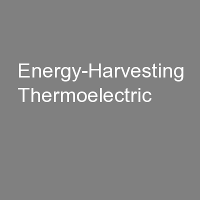 Energy-Harvesting Thermoelectric