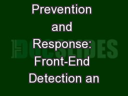 Data Breach Prevention and Response: Front-End Detection an
