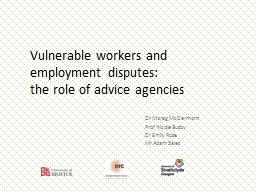 Vulnerable workers and employment disputes: PowerPoint PPT Presentation