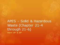 APES – Solid & Hazardous Waste (Chapter 21-4 through