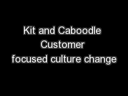 Kit and Caboodle Customer focused culture change
