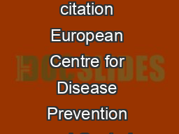 Suggested citation European Centre for Disease Prevention and Control