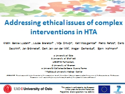 Addressing ethical issues of complex interventions in HTA