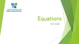 Equations PowerPoint PPT Presentation