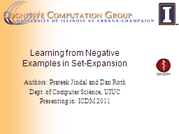 Learning from Negative Examples in Set-Expansion PowerPoint PPT Presentation