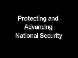 Protecting and Advancing National Security