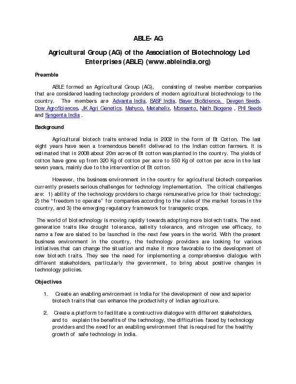 ABLEAgricultural Group (AG)of the Association of Biotechnology Led Ent