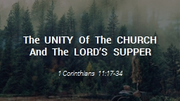 The  UNITY  Of  The  CHURCH  And  The  LORD'S  SUPPER