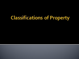 Classifications of Property PowerPoint PPT Presentation