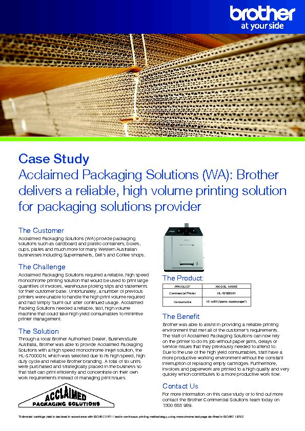 Acclaimed Packaging Solutions (WA): Brother