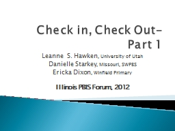 Check in, Check Out- Part PowerPoint PPT Presentation