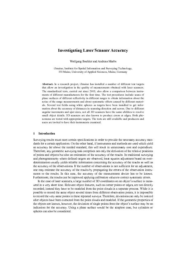 Investigating Laser Scanner AccuracyWolfgang Boehler and Andreas Marbs