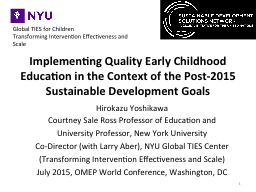 Implementing Quality Early Childhood Education in the Conte