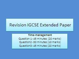 Revision IGCSE Extended Paper