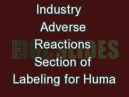Guidance for Industry   Adverse Reactions Section of Labeling for Huma