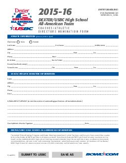 ATHLETE INFORMATION please print or type COACHATHLETIC DIRECTOR INFORMATION Check one Male Female Last Name  First Name  Middle Initial  Address  City  State  Zip  Phone  Email  Birth Date  Year In S