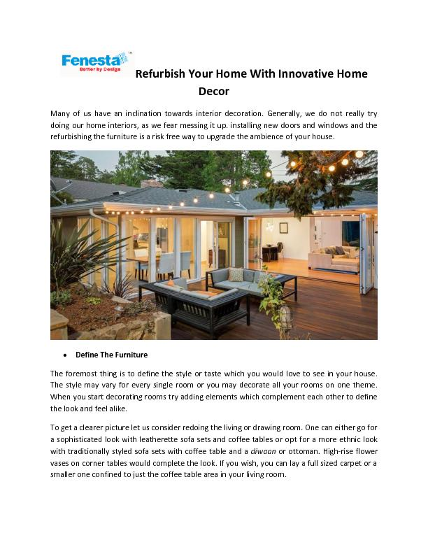Refurbish Your Home With Innovative Home Decor PowerPoint PPT Presentation