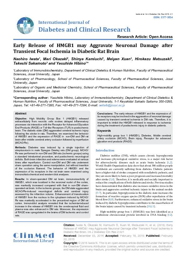 Early Release of HMGB1 may Aggravate Neuronal Damage after Transient F
