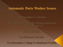 Automatic Parts Washer Issues PowerPoint PPT Presentation