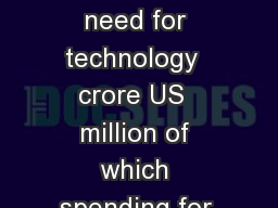 Total resource need for technology  crore US  million of which spending for RD in ater technologies