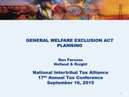 GENERAL WELFARE EXCLUSION ACT PLANNING PowerPoint PPT Presentation