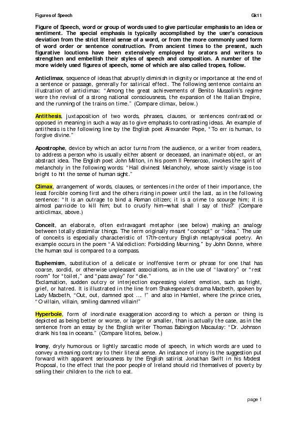 Figures of Speech   Gk11   page 1 Figure of Speech, word or group of w