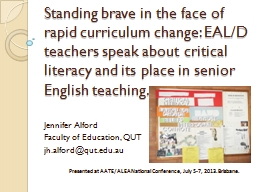 Standing brave in the face of rapid curriculum change: EAL/