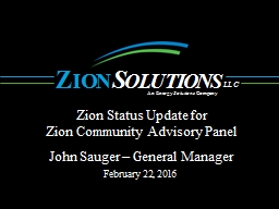 Zion Status Update for