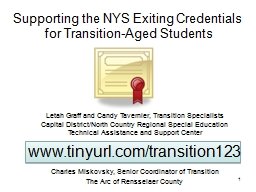 Supporting the NYS Exiting Credentials